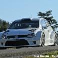 Clichés du proto Polo R WRC 2017 par Hugo Balncher et Jean-Louis Riols lors des essais sur le groudron français de la Volkswagen répondant au prochain changement de réglementation. A...
